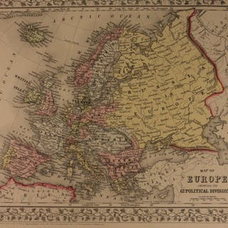 1866 Color Steel Engraved Map of EUROPE France UK Spain Austria Italy TURKEY