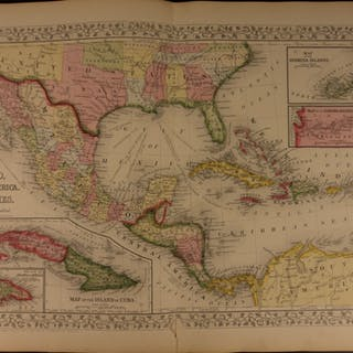 1866 HUGE Color Steel Engraved Map of CENTRAL AMERICA Mexico Cuba West Indies