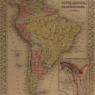 1866 Color Steel Engraved Map of SOUTH AMERICA Brazil Patagonia PERU Bolivia