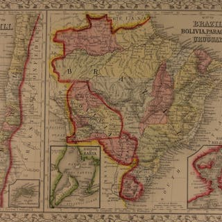 1866 Color Steel Engraved Map of BRAZIL Bolivia Paraguay CHILI South America