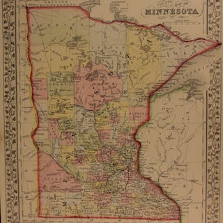 1866 Color Steel Engraved Mitchell Map MINNESOTA Lake Superior America Canada