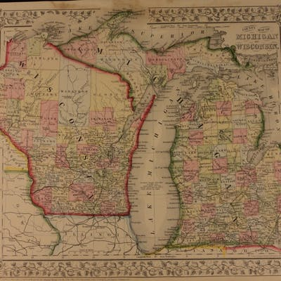 1866 Color Steel Engraved Map of MICHIGAN and Wisconsin Great Lakes