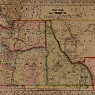 1866 Color Steel Engraved Map of OREGON Idaho Washington Montana Yellowstone