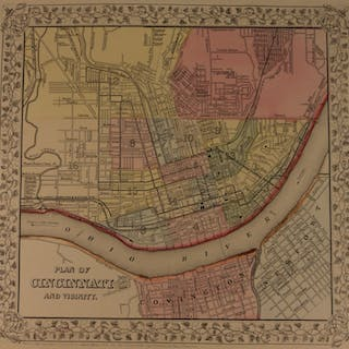 1866 Color Steel Engraved Mitchell Map of CINCINNATI Covington Ohio River