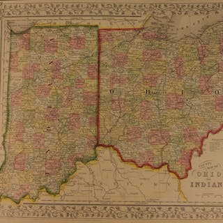 1866 Color Steel Engraved Map of INDIANA and Ohio Cleveland America Lake Erie