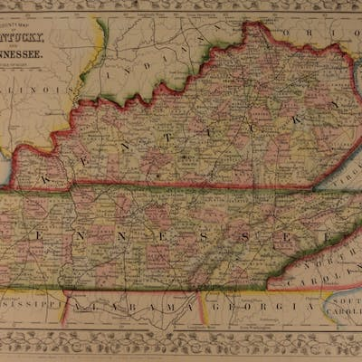 1866 Color Steel Engraved Map of KENTUCKY and Tennessee America Memphis
