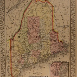 1866 Color Steel Engraved Map of MAINE Portland Canada Augusta United States