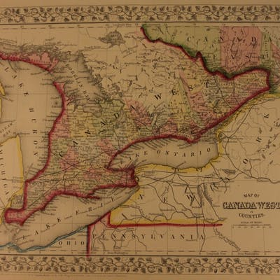 1866 Color Steel Engraved Map of West CANADA Ontario Toronto New York Erie