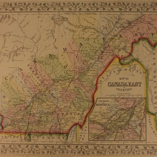 1866 Color Steel Engraved Map of East CANADA Quebec Montreal Vermont Maine