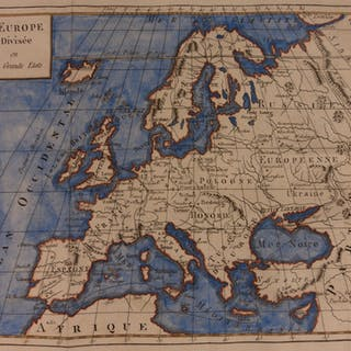 1807 Color Copper Map EUROPE France Espagne Spain Italy United Kingdom Turkey
