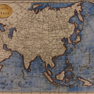 1807 Color Copper Map ASIA China Tartary Russia India Middle East Japan Tibet