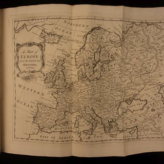 1744 Churchill Voyages & Travels CHINA Poland Ukraine MAP of Europe Unicorns