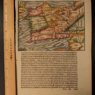 1558 INCREDIBLE Woodcut Map Turkey Asia Minor Cyprus Cosmographia Munster