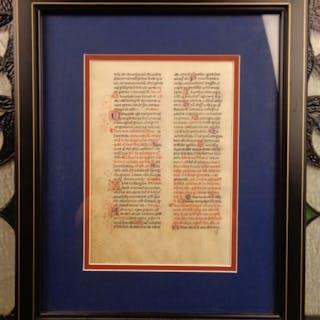 1400s Beautiful Illuminated Medieval MANUSCRIPT Catholic Church FRAMED Prayers