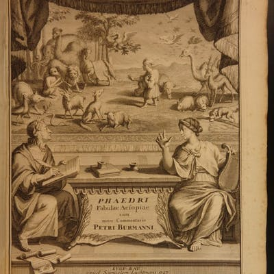 1727 1st ed Greek Literature Phaedrus Fables Aesop Latin Burman VELLUM FOLIO