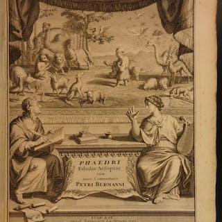 1727 1st ed Greek Literature Phaedrus Fables Aesop Latin Burman VELLUM FOLIO