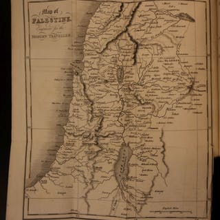 1824 1st ed PALESTINE Holy Land Bible Maps Jerusalem The Modern Traveler Condor