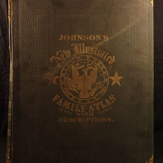 1863 Johnson Family ATLAS Geography Color MAPS Texas California America