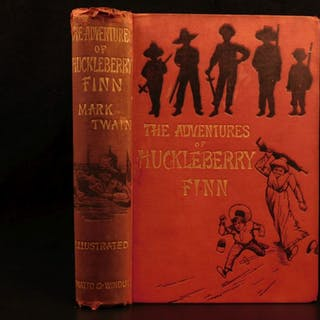 1884 1st UK ed Adventures of Huckleberry Finn Mark TWAIN Tom Sawyer Illustrated