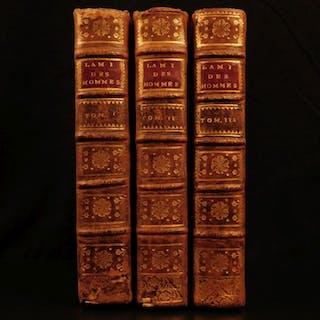 1758 Mirabeau ECONOMICS Ami des Hommes Finance Money Population Physiocrat 3v