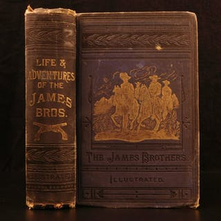 1882 Frank & Jesse James Gang Missouri Outlaw Train Bank Robbers Illustrated