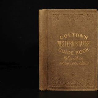 1856 1ed HUGE MAP Colton's Traveler Guide Book Illustrated Americana California