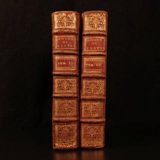1701 Works of PLATO French Dacier Greek Philosophy Metaphysics Dialogues 2v SET