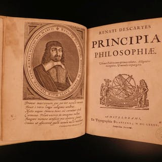 1685 Rene Descartes Principia + Discourse Method Philosophy Physics Elzevier 3v