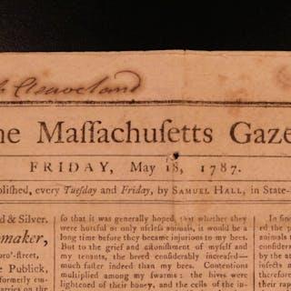1787 Massachusetts Gazette American Newspaper Constitution East India Prussia