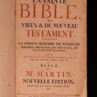 1760 HUGUENOT French BIBLE Protestant David Martin Geneva Illustrated