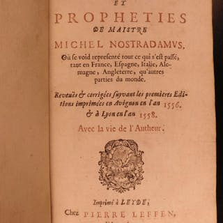 1650 1ed Prophecies of Nostradamus Astrology Astronomy Occult Predictions