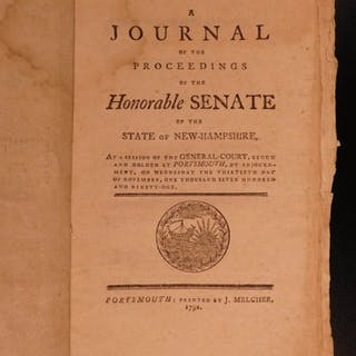 1791 New Hampshire Journal of Proceedings Politics Early Americana SENATE