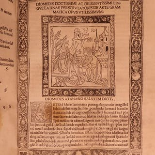 1491 1st ed Diomedes Grammar Latin Rhetoric Phocas Donatus Honoratius INCUNABLE