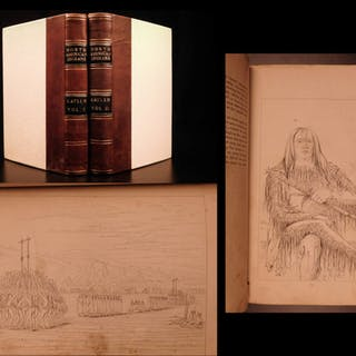1844 George Catlin Letters on Native American Indians Sioux Illustrated 2v SET