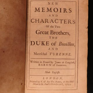1693 1ed Memoirs Henry of Turenne & Frederic Duke of Bouillon ENGLISH Langlade