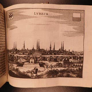 1655 Martin Zeiler Geography of Denmark Germany & Norway Topography MAPS Atlas