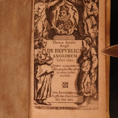 1630 Republica Anglorum ENGLAND Government Queen Elizabeth Elzevier