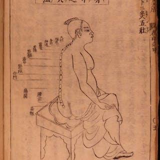 1699 Japanese Acupuncture Illustrated Woodblock Medicine Shinkyu Bassui Taisei