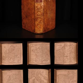 1751 VOYAGES 17 ATLAS Vaugondy Maps Geography Asia Africa Europe USA