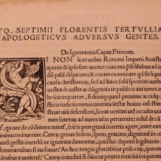 1521 Tertullian Apologetics Early Church Parrasio Post Incunable Pagan Heresy