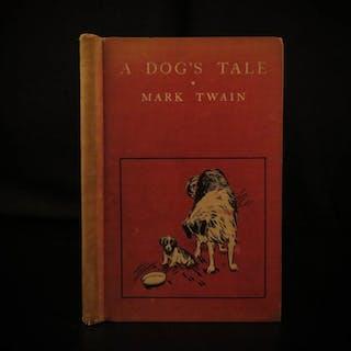 1904 1st ed A Dog's Tale by Mark Twain Humor Puppies St Bernard Collie