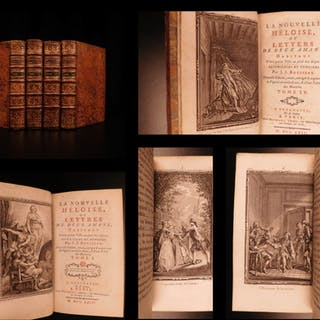 1764 Jean-Jacques Rousseau Heloise Julie BANNED Book Philosophy Geneva 4v SET
