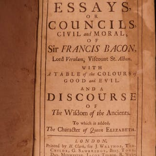 1718 Francis Bacon English ESSAYS Political Philosophy Law Good v Evil Science