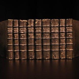 1828 RARE Vulgate Biblia Sacra Jesuit Holy Bible Carrieres Menochio Besançon 9v
