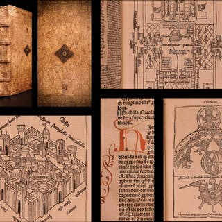 1497 BIBLE Anton Koberger INCUNABULA Nuremberg Illustrated + Lyra Commentary