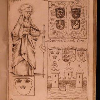 1678 RARE Ancient Swedish Heraldry Archaeology Emblems Sweden Denmark Scheffer