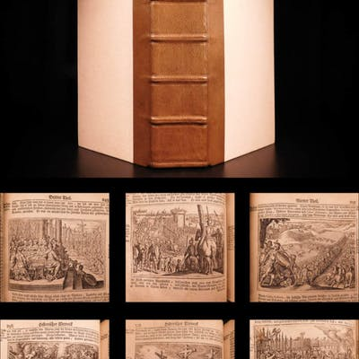 1743 Gottfried CHRONICLE Chronica Creation Persia ROME Merian Illustrated War