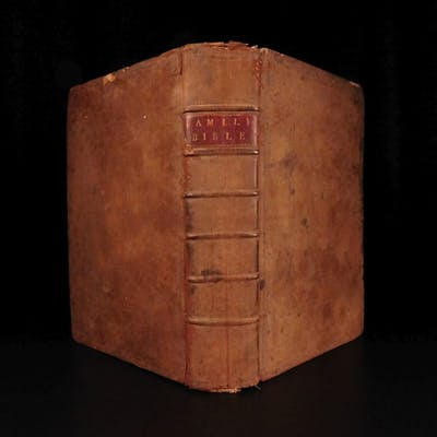 1795 ENORMOUS McDowall Family Bible Kennicott IRISH Dublin Ireland Illustrated