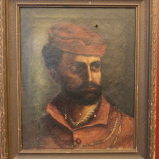 1870 Old Master Oil on Canvas Painting Italian Lorenzo Rizzi Portrait Verona