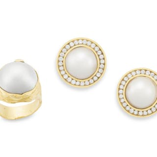 Pair of mabé pearl and diamond earrings